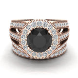 Large Black Diamond Wedding Ring Set 18K Gold Halo Rings for women 7.30 mm 3.20 carat (G,VS) - Rose Gold