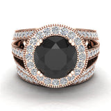Wedding Ring set Black Diamond Bridal rings set 14K Gold 9.30 mm 4.96 carat tw (I,I1) - Rose Gold