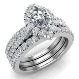 Marquise Cut Diamond Halo Wedding Ring Set w/ Enhancer Bands 1.55 Carat Total 14K Gold (I,I1) - White Gold