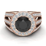 Large Black diamond engagement ring 14K Gold 7.30 mm 2.80 carat tw (G,SI) - Rose Gold