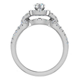 Diamond Loop Shank Cushion Shape Wedding Ring Set w/ Enhancer Bands Bridal 1.55 Carat Total Weight 14K Gold (I,I1) - White Gold