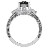 Black Diamond Engagement Rings for Women 7.30 mm 4.85 carat Past Present Future Style 14K Gold (G,SI) - White Gold