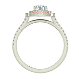 1.17 ct Cushion Halo Diamond Engagement Ring Rose Gold Highlight 14K White Gold (G,I1) - White Gold