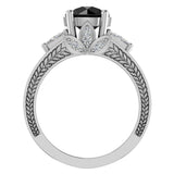Black Diamond Engagement Rings for Women 8.00 mm 5.35 carat Past Present Future Style 14K Gold (I,I1) - White Gold