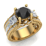 Black Diamond Engagement Rings for Women 7.30 mm 4.85 carat Past Present Future Style 14K Gold (G,SI) - Yellow Gold
