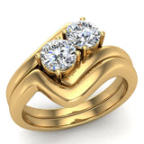 Two-Stone Diamond Wedding Ring Set in 14K Gold (G,VS) - Yellow Gold