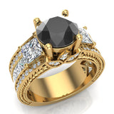 Black Diamond Engagement Rings for Women 8.00 mm 5.35 carat Past Present Future Style 14K Gold (I,I1) - Yellow Gold