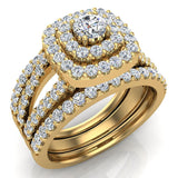 Cushion Shape Double Halo Split Shank Wedding Ring w/ Enhancer Bands 1.32 Carat Total 14K Gold (I,I1) - Yellow Gold