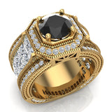 Large Black Diamond Engagement Ring 18K Gold Halo Rings for women 7.30 mm 6.35 carat (G,VS) - Yellow Gold