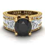 Black Diamond Engagement Rings for Women 7.30 mm 4.85 carat Past Present Future Style 18K Gold (G,VS) - Yellow Gold