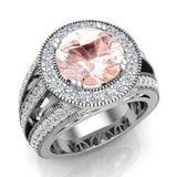 Morganite engagement rings Fashion Rings Cocktail Anniversary gifts for her 9.30 mm 4.56 carat tw (G,SI) - White Gold