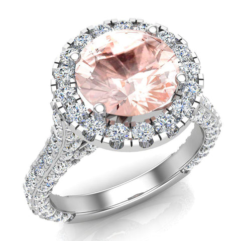 Morganite Engagement  Diamond Rings 14K Gold Halo rings for women 4.30 carat (I,I1) - White Gold