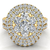 Double Halo with Solitaire look Diamond Cluster Ring Set 18K Gold (G,VS) - Yellow Gold