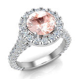 Morganite Engagement Rings 14K Gold Halo rings for women 4.15 carat (I,I1) - White Gold