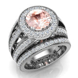 Large Morganite Wedding Ring Set 14K Gold Halo rings for women 8.00 mm 3.95 carat (G,SI) - White Gold