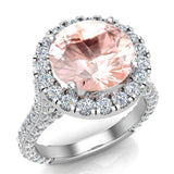 Morganite Engagement Rings 18K Gold Halo rings for women 5.50 carat (G,VS) - White Gold