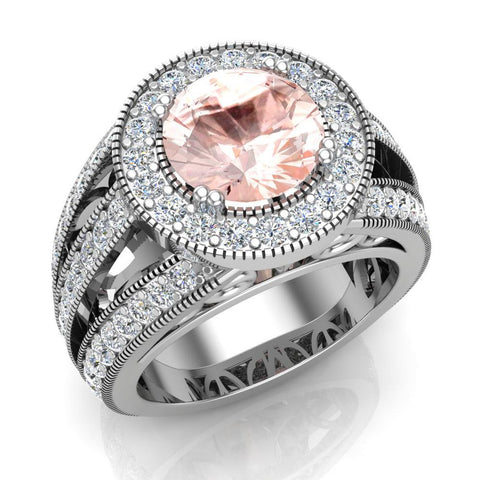 Morganite engagement rings Fashion Rings Cocktail Anniversary gifts for her 8.00 mm 3.50 carat tw (G,SI) - White Gold