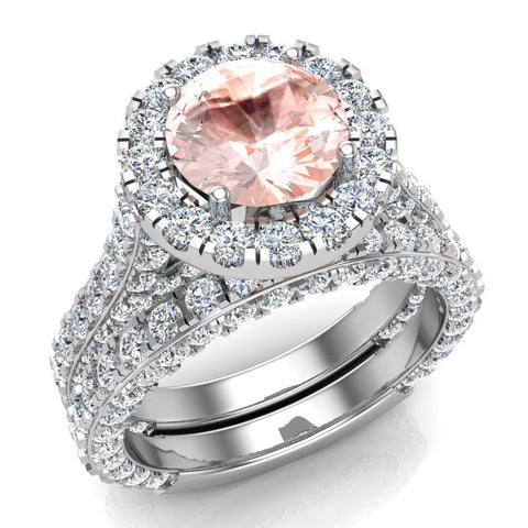 Morganite Wedding Ring Set 14K Gold Halo rings for women 7.40 mm 5.15 carat (I,I1) - White Gold