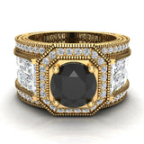 Large Black Diamond Engagement Ring 14K Gold Halo Rings for women 7.30 mm 6.35 carat (I,I1) - Yellow Gold