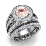 Large Morganite Wedding Ring Set 14K Gold Halo rings for women 7.30 mm 3.20 carat (G,SI) - White Gold