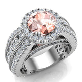 Morganite Engagement Diamond Rings 14K Gold Halo Style Channel Set Diamonds 7.30 mm (I,I1) - White Gold