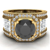 Large Black Diamond Engagement Ring 14K Gold Halo Rings for women 8.00 mm 6.85 carat (I,I1) - Yellow Gold