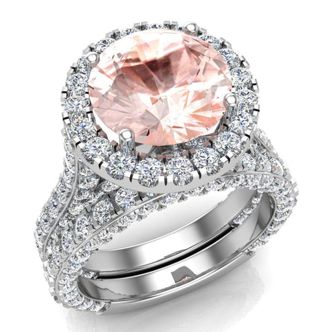 Morganite Wedding Ring Set 14K Gold Halo rings for women 9.10 mm 7.15 carat (G,SI) - White Gold