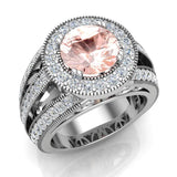 Morganite engagement rings Fashion Rings Cocktail Anniversary gifts for her 8.00 mm 3.50 carat tw (I,I1) - White Gold