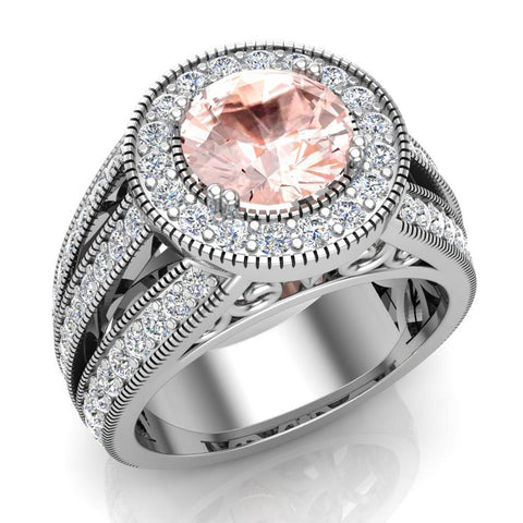 Morganite engagement rings Fashion Rings Cocktail Anniversary gifts for her 7.30 mm 2.80 carat tw (G,VS) - White Gold