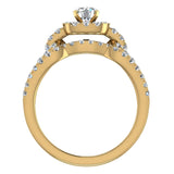 Diamond Loop Shank Cushion Shape Wedding Ring Set w/ Enhancer Bands Bridal 1.55 Carat Total Weight 14K Gold (I,I1) - Yellow Gold