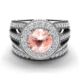 Large Morganite Wedding Ring Set 14K Gold Halo rings for women 7.30 mm 3.20 carat (I,I1) - White Gold