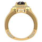 Large Black Diamond Engagement Ring 14K Gold Halo Rings for women 8.00 mm 6.85 carat (G,SI) - Yellow Gold