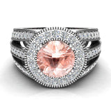 Morganite engagement rings Fashion Rings Cocktail Anniversary gifts for her 7.30 mm 2.80 carat tw (I,I1) - White Gold