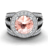 Morganite Wedding Rings Bridal Ring sets for women 14K gold Real Accented Diamond Ring 9.30 mm 4.96 carat tw (I,I1) - White Gold