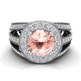 Morganite engagement rings Fashion Rings Cocktail Anniversary gifts for her 8.00 mm 3.50 carat tw (G,VS) - White Gold