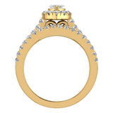 Marquise Cut Diamond Halo Wedding Ring Set w/ Enhancer Bands 1.55 Carat Total 14K Gold (I,I1) - Yellow Gold