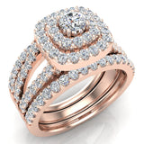 Cushion Shape Double Halo Split Shank Wedding Ring w/ Enhancer Bands 1.32 Carat Total 18K Gold (G,VS) - Rose Gold