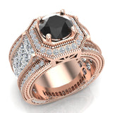 Large Black Diamond Engagement Ring 14K Gold Halo Rings for women 7.30 mm 6.35 carat (I,I1) - Rose Gold