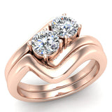 Two-Stone Diamond Wedding Ring Set in 14K Gold (G,VS) - Rose Gold