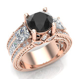 Black Diamond Engagement Rings for Women 7.30 mm 4.85 carat Past Present Future Style 14K Gold (I,I1) - Rose Gold