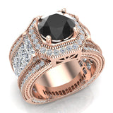 Large Black Diamond Engagement Ring 14K Gold Halo Rings for women 8.00 mm 6.85 carat (I,I1) - Rose Gold