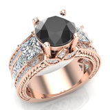 Black Diamond Engagement Rings for Women 8.00 mm 5.35 carat Past Present Future Style 18K Gold (G,VS) - Rose Gold