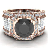 Large Black Diamond Engagement Ring 14K Gold Halo Rings for women 8.00 mm 6.85 carat (G,SI) - Rose Gold