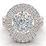 Double Halo with Solitaire look Diamond Cluster Ring Set 18K Gold (G,VS) - Rose Gold