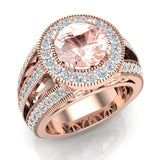 Morganite engagement rings Fashion Rings Cocktail Anniversary gifts for her 8.00 mm 3.50 carat tw (G,SI) - Rose Gold