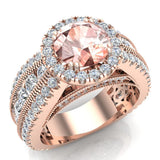 Morganite Engagement Diamond Rings 14K Gold Halo Style Channel Set Diamonds 7.30 mm (G,SI) - Rose Gold