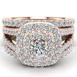 Cushion Shape Double Halo Split Shank Wedding Ring w/ Enhancer Bands 1.32 Carat Total 14K Gold (I,I1) - Rose Gold