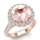 Morganite Engagement Rings 18K Gold Halo rings for women 5.50 carat (G,VS) - Rose Gold