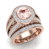 Large Morganite Wedding Ring Set 14K Gold Halo rings for women 7.30 mm 3.20 carat (G,SI) - Rose Gold