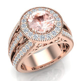 Morganite engagement rings Fashion Rings Cocktail Anniversary gifts for her 7.30 mm 2.80 carat tw (G,VS) - Rose Gold
